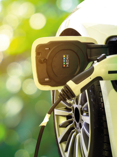 Close up of an electric vehicle charger
